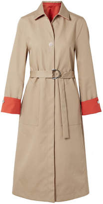 Maje Reversible Two-tone Cotton-gabardine Trench Coat - Sand