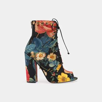 Fausto Puglisi Floral Print Lace-up Bootie