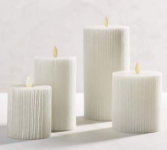 Pottery Barn Premium Flicker Flameless Etched Stripe Pillar Candle