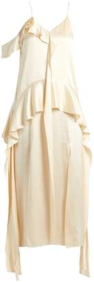 Jonathan Simkhai Ruffle-trimmed silk-satin dress