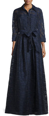 Rickie Freeman for Teri Jon Long-Sleeve Belted Fil Coupe Gown, Navy $800 thestylecure.com