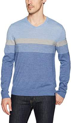 Calvin Klein Men's Merino Color Block Stripe V-Neck Sweater