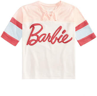 Barbie Big Girls Colorblocked Lace-Up T-Shirt