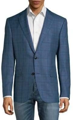 Pal Zileri Wool Linen Silk Plaid Jacket