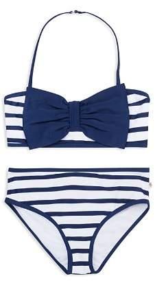 Kate Spade Girls' Georgica Bow Striped 2-Piece Swimsuit - Big Kid