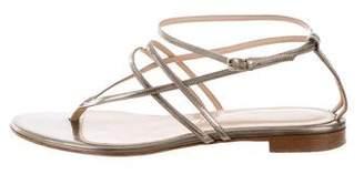 Sergio Rossi Metallic Leather Sandals
