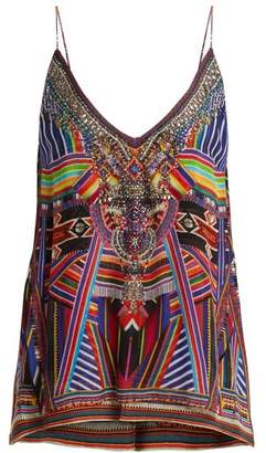 Camilla Tsachila Blessing Print Silk Cami Top - Womens - Purple Multi