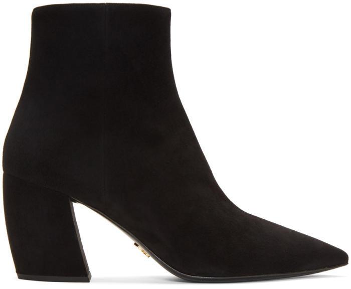 Prada Black Suede Pointed Boots