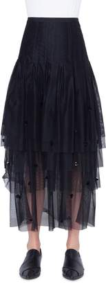 Akris Punto 3D Sequin Tulle Maxi Skirt