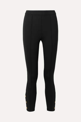 Tory Burch Button-embellished Stretch-ponte Leggings - Black