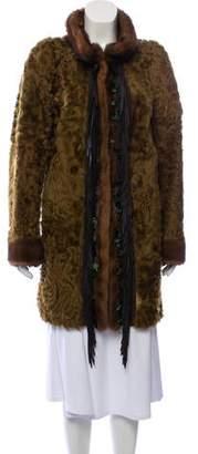 Mink-Trimmed Persian Lamb Fur Coat
