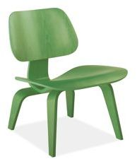 Eames® Molded Plywood Lounge Chair in Birch Veneer with Green Stain with Wood Legs by Herman Miller®