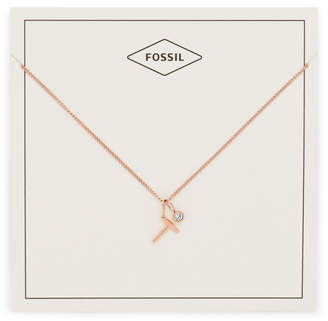 Fossil Letter T Rose Gold-Tone Stainless Steel Necklace
