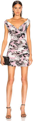 Norma Kamali Tara Mini Dress in Pink Peonies | FWRD