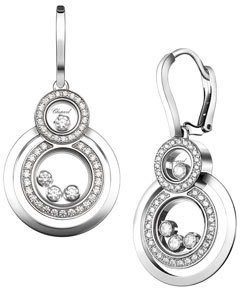 Chopard Chopard Stacked Circle Drop Earrings with Diamonds in 18K White Gold