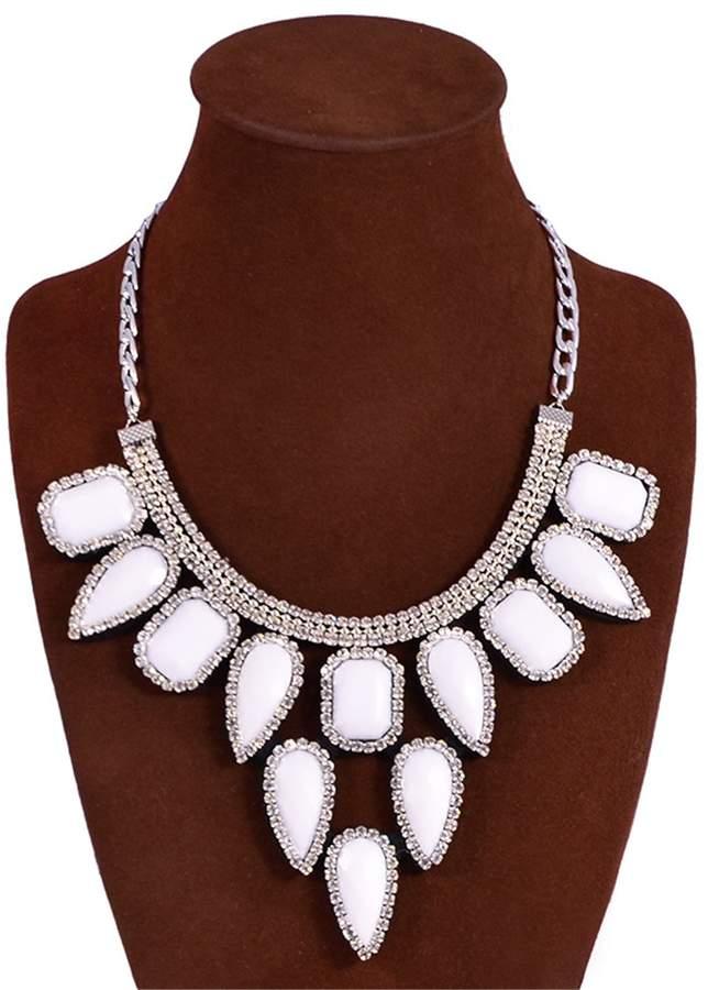 GBLXF Elegant Women's Bling Rhinestone Beaded Chandelier Choker Big Collar Necklace