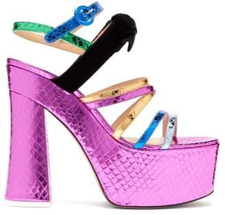 ATTICO The Bibbi Snakeskin Effect Leather Platform Sandals - Womens - Multi