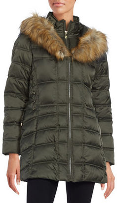 Betsey Johnson Faux Fur-Trimmed Hooded Mid Length Puffer Coat $220 thestylecure.com