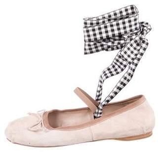 Miu Miu Suede Round-Toe Ballet Flats