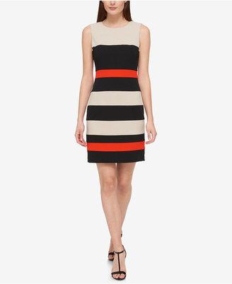 Tommy Hilfiger Striped Scuba Sheath Dress $99 thestylecure.com