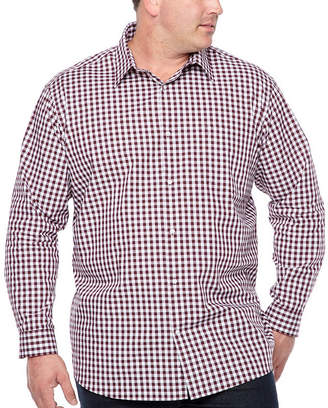 Claiborne Mens Long Sleeve Windowpane Button-Front Shirt-Big and Tall