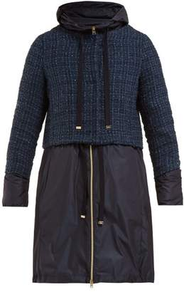 Herno Double Layer Tweed Boucle Coat - Womens - Navy