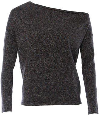 Minnie Rose Lurex Slouchy One Shoulder Sweater