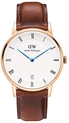 Daniel Wellington DW00100091 Women's Dapper St. Mawes Leather Strap Watch, Brown/White