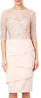 Adrianna Papell Beaded Illusion Bodice Sheath Dress, Blush
