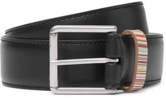 Paul Smith 4cm Black Stripe-Trimmed Leather Belt