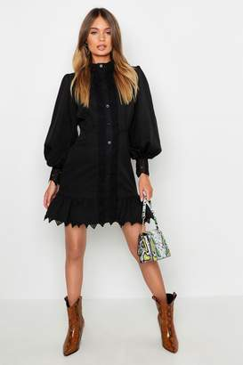boohoo Lace Panel High Neck Ruffle Hem Mini Dress