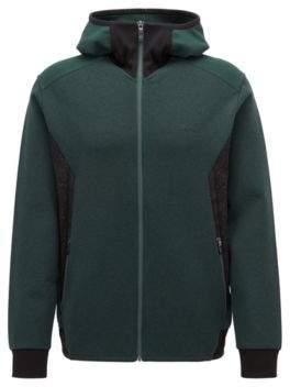 BOSS Hugo Slim-fit hoodie in stretch jersey reflective details S Dark Green