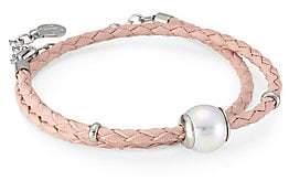 Majorica Women's Amazona Braided Double Wrap Imitation Pearl & Leather Bracelet