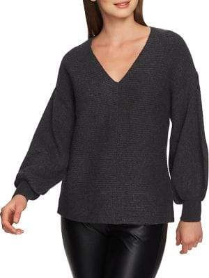 1 STATE Plush Luxe Bubble-Sleeve Sweater
