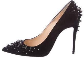Christian Louboutin Embellished Suede High Heel Pumps