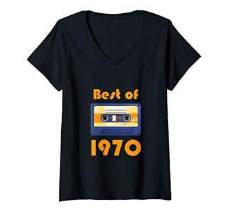 Womens Best Of 1970 Retro Cassette 70's Mixtape V-Neck T-Shirt