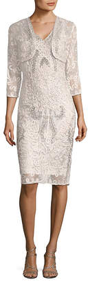 JS Collections 2Pc Lace Shawl And Cocktail Dress Set