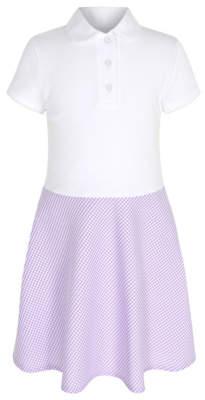 George Girls Lilac Gingham Polo Shirt School Dress