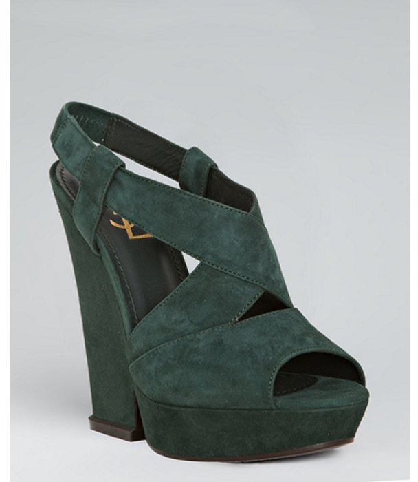 Yves Saint Laurent forest green suede 'Hortense 105' platform sandals