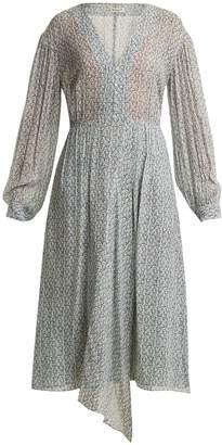 Masscob Amalfi print button-front floral-print silk dress
