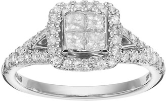 Vera Wang Simply Vera 14k White Gold 7/8 Carat T.W. Diamond Square Halo Engagement Ring