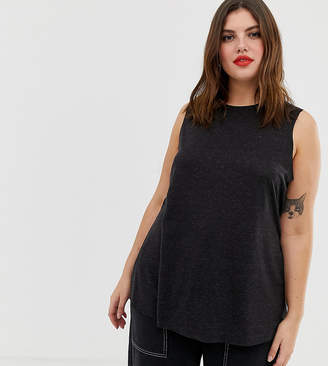 13313144440485 Asos DESIGN Curve sleeveless top with side split in linen mix in black