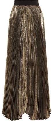 Alice + Olivia - Katz Plissé Silk-blend Lamé Maxi Skirt - Gold $530 thestylecure.com