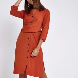 River Island Womens Orange twist front midi shirt dress