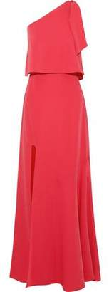 Halston One-Shoulder Layered Crepe Gown