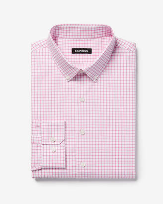 Express Slim Check Button-Down Cotton Dress Shirt