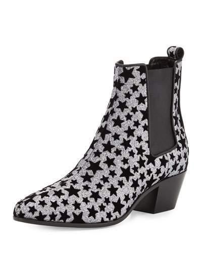 Saint LaurentSaint Laurent Star Rock Glitter Chelsea Boot, Anthracite/Nero
