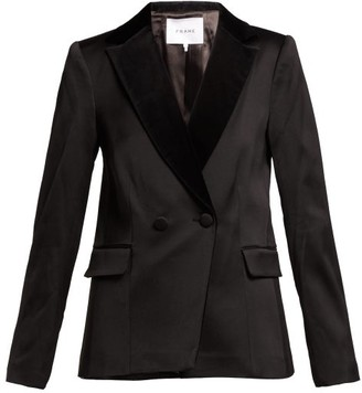 Frame Double Breasted Tuxedo Jacket - Womens - Black