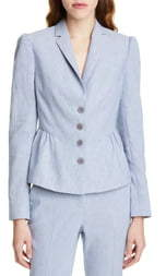 Rebecca Taylor Tailored by Linen Blend Peplum Blazer