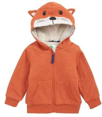 Boden Mini Critter Hood Plush Zip Sweatshirt